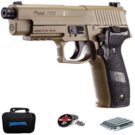 Sig Sauer P226 FDE | Pack Pistola de balines (perdigones de Plomo) con maletín. Arma de Aire comprimido CO2 Calibre 4,5mm <3,5J