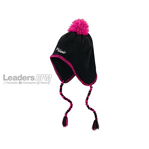 Polaris New OEM Snowmobile Womens Snowfall Earflap Hat, Black/Magenta, (New Earflap)