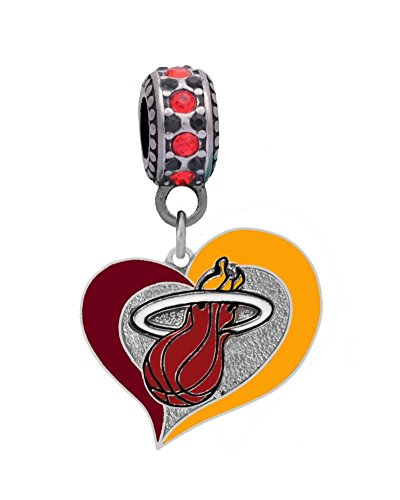 Miami Heat Swirl Heart Charm Fits European Style Large Hole Bead Bracelets (Heat Heart Miami)