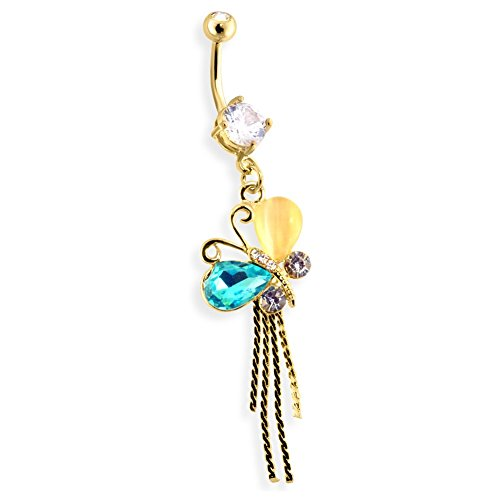 Multi Gems And Stones On Butterfly Dangle 14Kt Gold Toned Navel Ring (14kt Butterfly Belly Gold Ring)