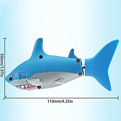 ixaer Cute Mini Shark Remote Control Toy, Ship Submarines Lively Swim Toy/ Underwater Remote Control Small Shark/Electric RC Fish Boat/ Shark Swim in Water for Kids. (Light Blue): Toys & Games