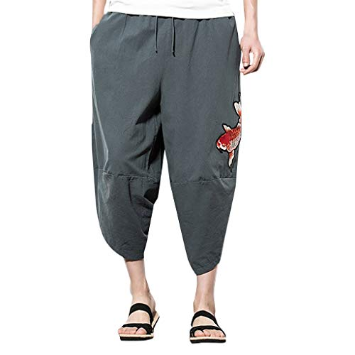 - TANLANG ✿✿Relaxed-Fit 100% Linen Pant with Drawstring Washed Twill Work-to-Weekend Pleat-Front Hidden Expandable Waist Gray