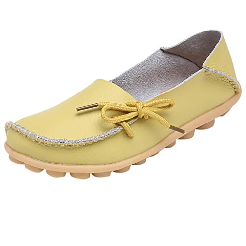 Flat Loafer for Women,SMALLE◕‿◕ Women's Leather Loafers Flats Casual Round Toe Summer Moccasins Wild Driving Shoes Yellow