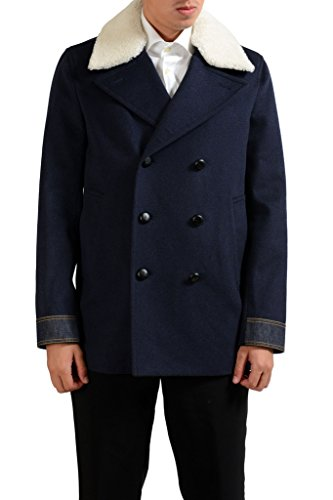 Dior Coat - Christian Dior Men's Wool Leather Fur Blue Double Breaste Peacoat US M IT 50;