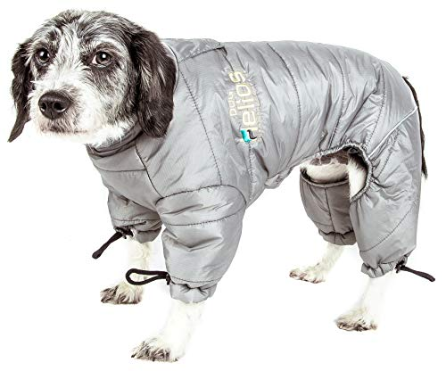 DOGHELIOS 'Thunder-Crackle' Full-Body Bodied Waded-Plush Adjustable and 3M Reflective Pet Dog Jacket Coat w/ Blackshark Technology, Medium, Grey