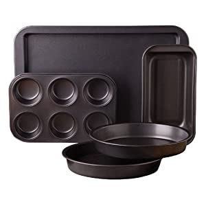 Gibson Love-To-Bake Bakeware Set, 5-Piece, Carbon Steel