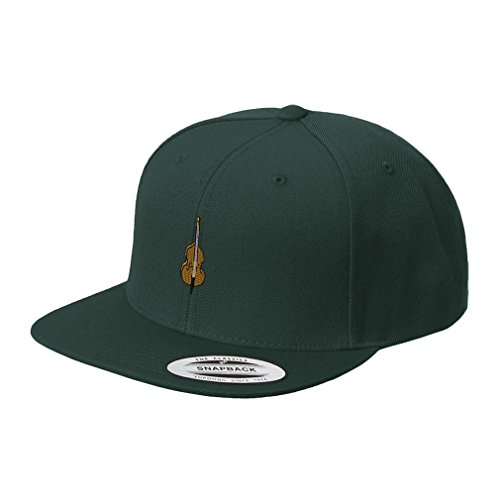 Double Bass Embroidered Flat Visor Snapback Hat Spruce Green (Embroidered Bass Visor)