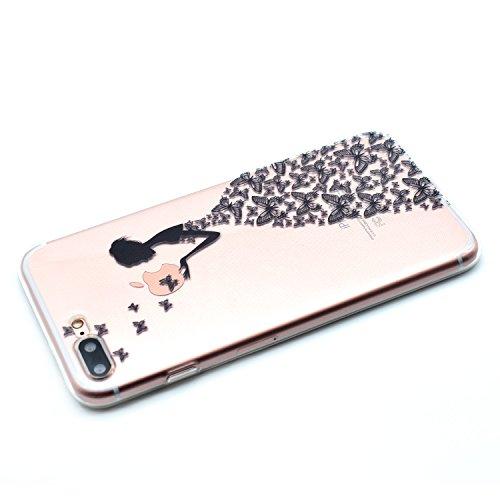 Für Apple iPhone 7 Plus (5,5 Zoll) Hülle ZeWoo® TPU Schutzhülle Silikon Tasche Case Cover - MM060 / Schmetterlings-Mädchen