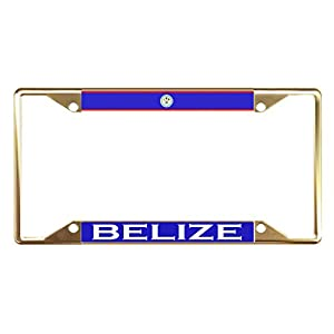 Moon Belize Flag Country Gold License Plate Frame Tag Holder Four Holes Perfect for Men Women Car garadge Decor