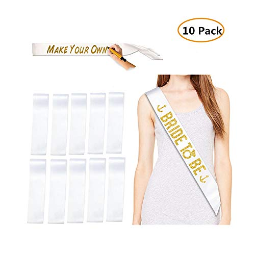 10 Pack Blank Sashes Plain Sashes for Party Decoration, DIY Accessory, Homecoming, Wedding, 3.74 x 30.7inches (White) -