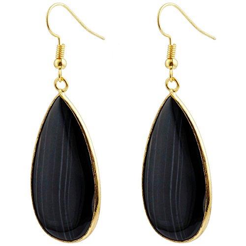 Earrings Dangling Handmade (SUNYIK Women's Stripe Agate Dangle Round Teardrop Earrings)