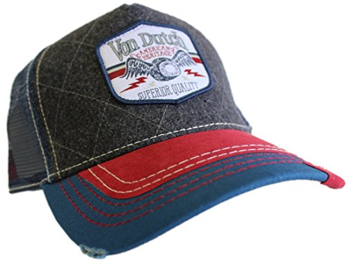 Von Dutch Unisex Shield Patch Trucker Hat, Grey/Navy/Red, OS