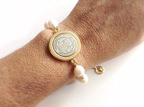 St Benedict Medal Bracelet Cultured Pearls Pulsera San Benito