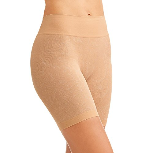 By Jockey Life Womens Wicking Slipshort Brief Smoothing Shape Wear Patterned Style M L XL Grey and Beige (Large Waist Size 32-33.5, Beige)