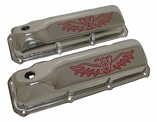 1969-82 Ford Small Block 351C-351M-400M-BOSS 302 Steel Valve Covers - Red V8 Logo