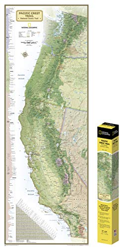 National Geographic: Pacific Crest Trail Wall Map in gift box Wall Map (18 x 48 inches) (National Geographic Reference Map) ()