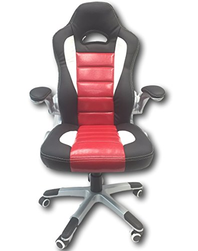 41wQ%2Bnqk0mL - ViscoLogic Racecar Styled Office Chair High Back Leather EXECUTIVE Computer Home Office Desk Swivel Chair YF 2738