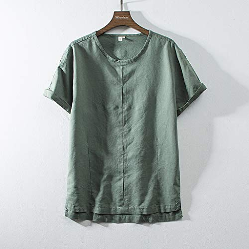 (Men's Linen Henry Shirt, Sharemen Casual Short Sleeve Pullover Tee Retro Solid Color Loose Cotton Beach Top(Army Green,XL))