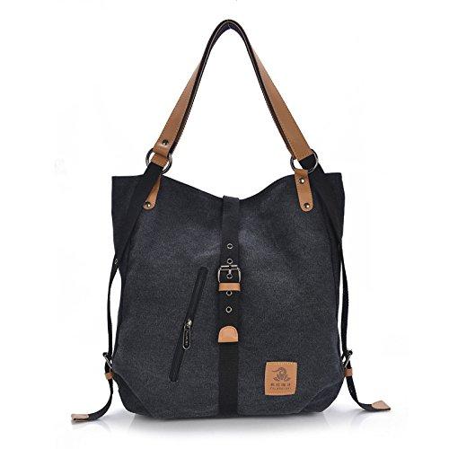 2017 New Fashion Female Handbag Lady Girls Casual Canvas Handbag Shoulder Bag Multifunctional Women Messenger BagFularuishi (black)