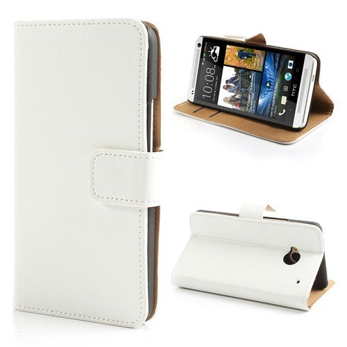 sale retailer 52ac6 d90f9 JUJEO HTC One M7 801e Genuine Split Leather Card Wallet Case Cover Stand -  Non-Retail Packaging - White