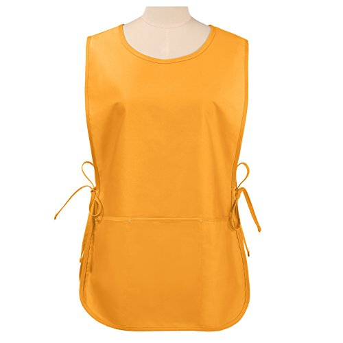 VEEYOO Chef Cobbler Apron with 3 Pockets, Polyester Cotton, Art Smock Aprons for Unisex Adult Men Women, Mustard, Regular 20x28 inches ()