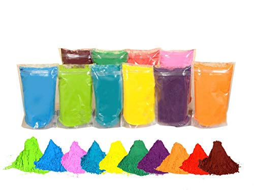 Lime Green Powder - Holi Color Powder 10 Pack Colors x 1 LB Each. Premium high Quality Vibrant Colors Red, Yellow, Blue, Pink, Dark Green, Purple, Orange, Lime Green, Fuchsia,Teal