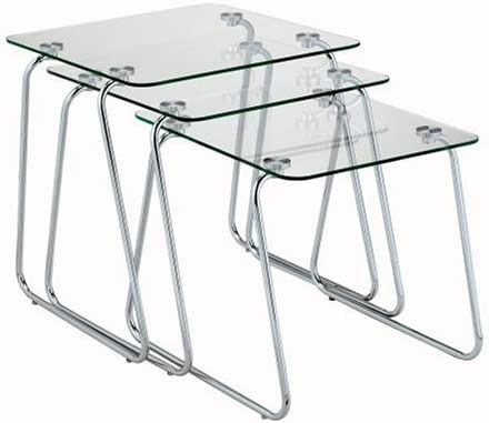 Adesso Set of 3 Slice Nesting Tables, Chrome