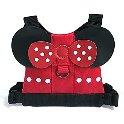 QXT Toddler Anti Lost Safety Backpack with Safety Leash Harness for Age 1-3 Years Old Boys and Girls - Disney Vacation Trip (Minnie)