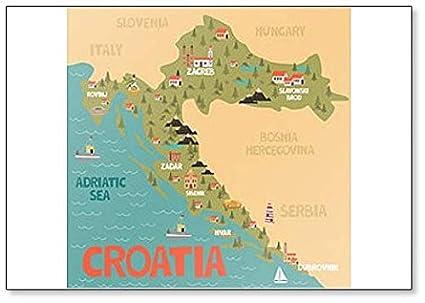 Amazon.com: Croatia Map classic fridge magnet: Kitchen & Dining
