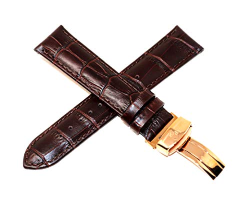 Lucien Piccard 22MM Alligator Grain Genuine Leather Watch Strap Band Brown with Rose Gold Stainless Steel LP Clasp