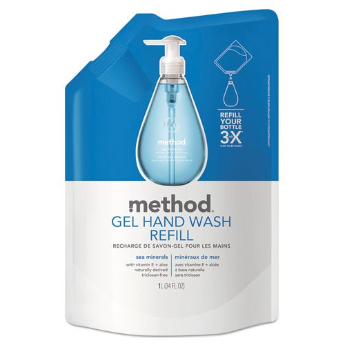 Refill for Gel Handwash, 34oz Plastic Pouch, Sea Minerals, Sold as 1 Each