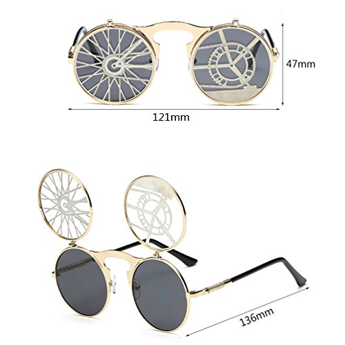 sol Gafas de Harajuku Retro Moda Gafas de masculina frescas redondas New Steampunk mujer Flip HL UO7xqZ5