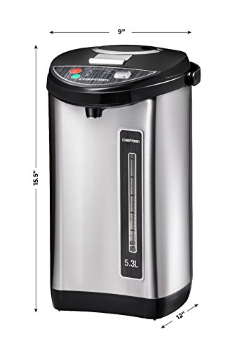 Chefman Instant Electric Hot Water Pot, Safety Lock To Prevent Spillage, 3 Dispense Buttons, Auto Shutoff, Easy View Water Level, Hot Water Urn, 700W & 120V, 5.3 Liters, Stainless Steel by Chefman (Image #4)'