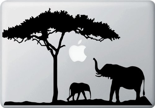 Elephant Mom and Baby - Design 2 - Vinyl Macbook Laptop Decal Sticker (12.5w x 8h)(COLOR CHOICES)