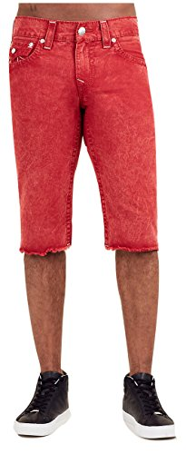 True Religion Men's Straight Big T Cut-Off Short w/ Flaps in Mineral Red (36) by True Religion