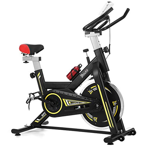 Indoor Cycling Bike Stationary, Doufit EB-05 Adjustable Exercise Bike Stationary for Home Use, Quiet Belt Drive Spinning Workout Bicycle with Flywheel, Water bottle and Resistance Pad