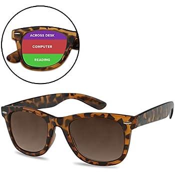 64c53cf907e SunglassUP Multi Focus 3 in 1 Tri-Focal Reading Sunglasses Classic Square  Frame Progressive Readers (Tortoise Frame