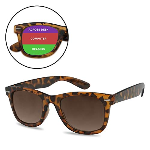 Classic Retro Multifocal Readers - 3 Powers in 1 Trifocal Computer, Surrounding Reading Glasses (Tortoise Frame | Brown Lens, 2.75)