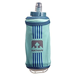 Nathan Grip Running Soft Flask BPA Free Water Bottle with Pocket, Blue Radiance, 18 oz