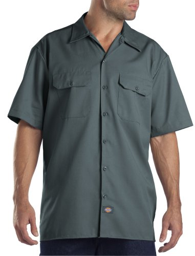 Dickies Men's Short Sleeve Work Shirt, Lincoln Green, Large