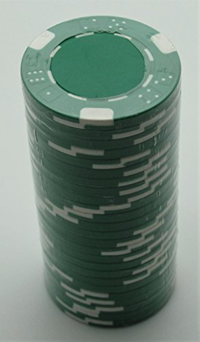 Poker Chips - (25) Green Double Dice Mold 11.5 g Clay Composite