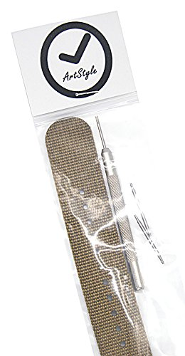 ArtStyle Watch Band with 1.5mm Thickness Quality Nylon Strap and Heavy Duty Brushed Buckle (Khaki, 20mm) Photo #4