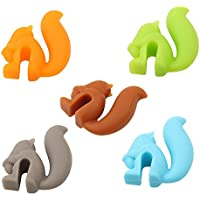 Rurah 5pcs Cute Squirrel Tea Bag Holder Silicone Drink Markers Bar Tools Mini Tea Bag Holder Hanging Cup Clip