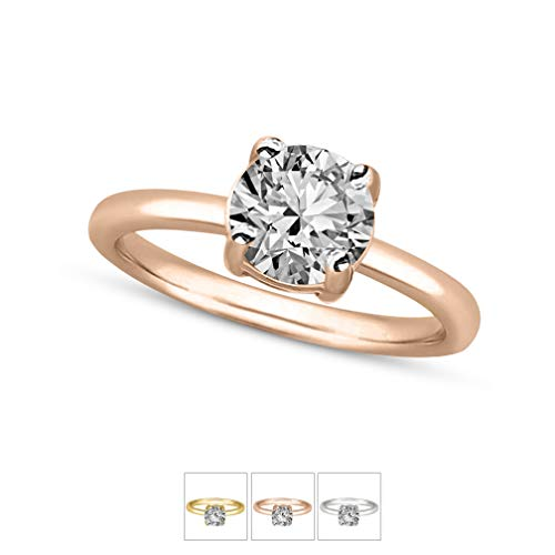 Mothers Day Gift Luxury 1/2 cttw IGI Certified Diamond Ring For Women Natural Diamond Solitaire Rings I2-HI Quality 10K Gold 100% Real Diamond Ring (1/2 cttw, Rose Gold) (Jewlery Gift For Mothers Day)