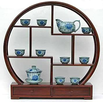 Home Decor Asian Accent Display Rack Stand, Made from Rosewood Small 16.5 H X 17.75 W X 3.5 D