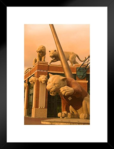 Poster Foundry Tiger Statues Comerica Park Detroit Michigan Photo Art Print Matted Framed Wall Art 26x20 inch ()