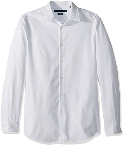 Perry Ellis Men's Slim Fit Solid Stretch Dress Shirt, Bright White, Small