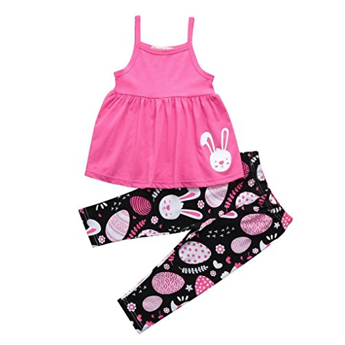 Baby Easter Outfits Girls 2 Piece Bunny Print Suspender Dress With Leggings Clothes (5T(5-6 Years), Pink) (Easter Clothes For Kids)