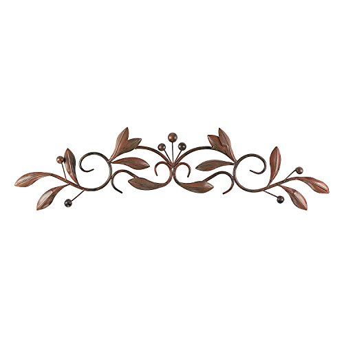 Super Z Outlet Brown Burnt Red Leaf & Beads Urban Design Iron Metal Wall Art Decoration for Home & Kitchen Gifts ()
