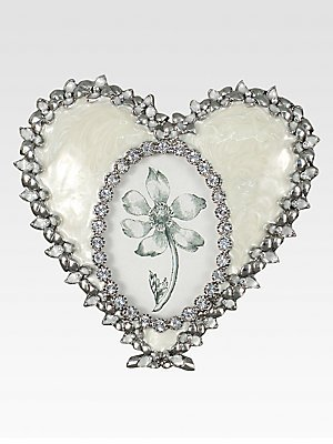 Jay Strongwater - Domminique Oval Heart Frame Crystal Pearl
